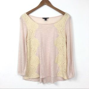 American Eagle Outfitters | Rose Lace Mesh Blouse